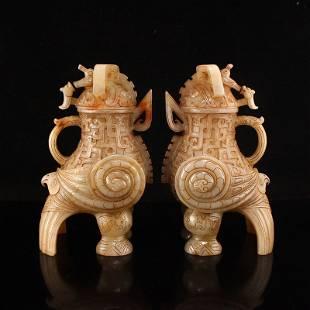 A Pair Superb Qing Dy Hetian Jade Divine Beast Burner