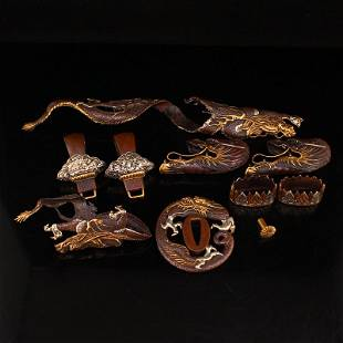 Set Gilt Gold Red Copper Japanese Sword Ornaments