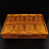 A Set Chinese Gilt Gold Red Copper Offical Token w Box