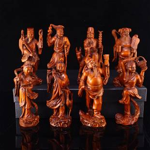 Vintage Chinese Boxwood Wood Eight Taoism Deity Statues