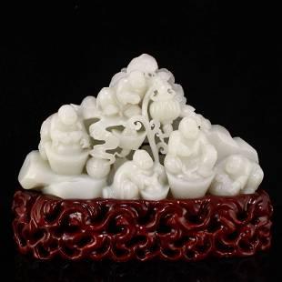 Hand Carved Qing Hetian Jade Five Fortune Kids Statue