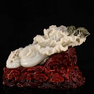 Superb Chinese Qing Hetian Jade Fortune Cabbage Statue