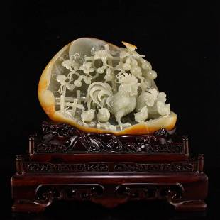 Superb Chinese Xinjiang Hetian Zi Jade Rooster Statue