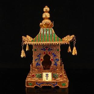 Gold Wire Enamel Inlay Gems Buddha's Relics Stupa