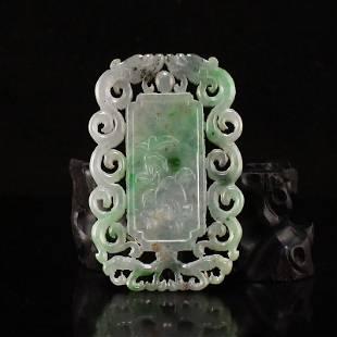 Openwork Vintage Jadeite Double Dragon Pendant