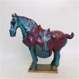 Chinese Variable Glaze Jun Kiln Porcelain Horse Statue