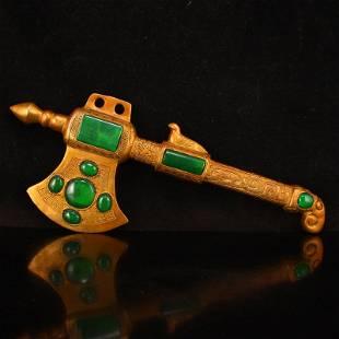 Chinese Gilt Gold Bronze Inlay Green Jade Axe Statue