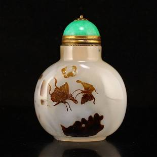 Qing Dy Agate Low Relief Butterfly Design Snuff Bottle