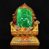 Gold Wire Enamel Base Green Jade Laughing Buddha Statue