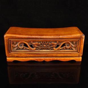 Vintage Chinese Boxwood Wood Double Dragon Pillow
