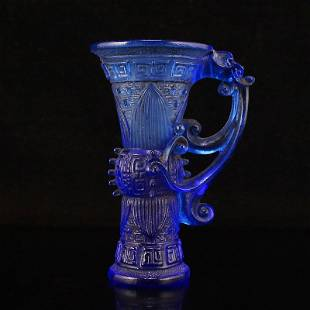 Vintage Chinese Blue Peking Glass Dragon Wine Cup