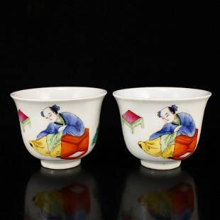 A Pair Chinese Famille Rose Porcelain Cups