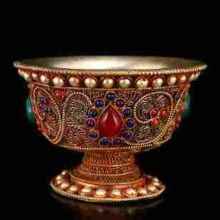 Tibetan Buddhist Silver Inlay Gems Cup