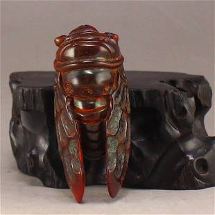 Vintage Chinese Ox Horn Cicada Pendant
