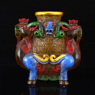 Vintage Gilt Gold Peking Glass Double Sheep Cup