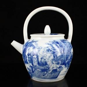Blue And White Porcelain Figure Design Handle Teapot