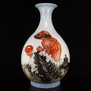 Chinese Iron Red Glaze Buddhism Arhat Porcelain Vase