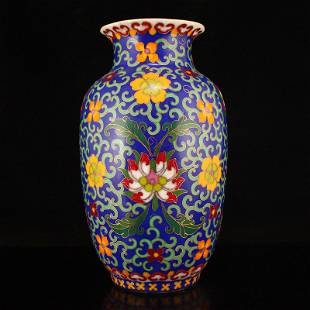 Chinese Ming Dy Porcelain Body Cloisonne Vase