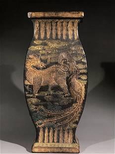 Vintage Chinese Ink Stick Carved Kylin Vase