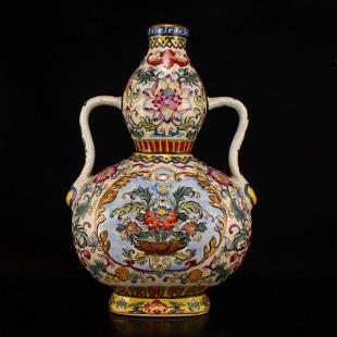 Gilt Edge Famille Rose Porcelain Double Ears Gourd Vase