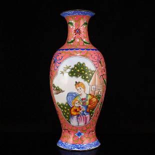 Vintage Chinese Bronze Enamel Figure Vase