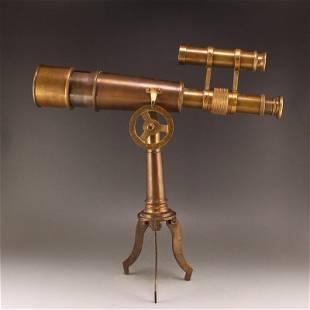 Vintage Red Copper Binocular Telescope w Shelf