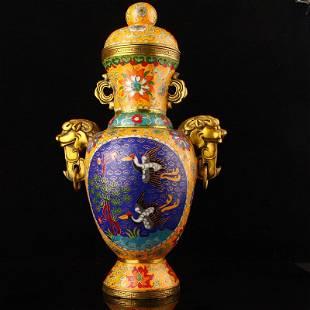 Gilt Gold Red Copper Cloisonne Double Ears Big Vase