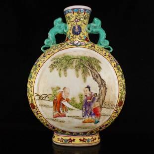 Gilt Edges Famille Rose Double Ears Porcelain Vase
