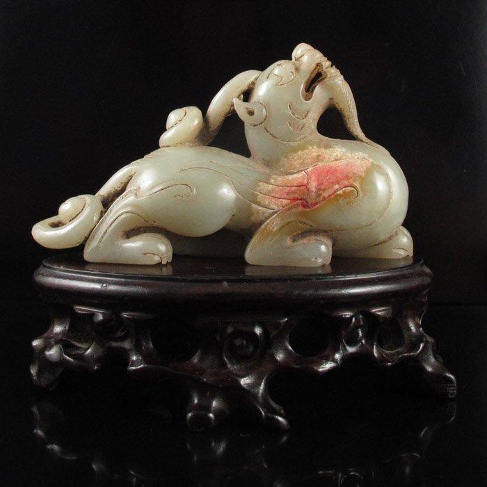Old Chinese Natural Hetian Jade Statue - Pixiu Dragon