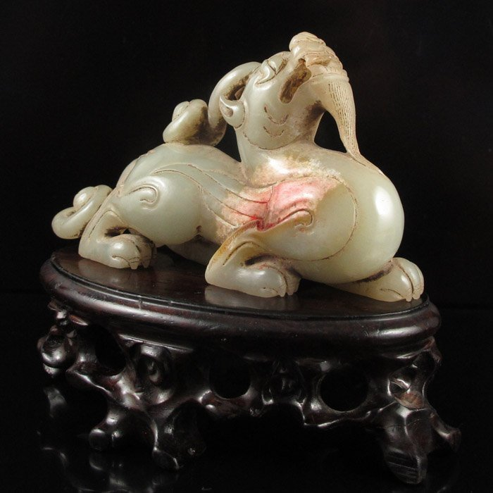 Old Chinese Natural Hetian Jade Statue - Pixiu Dragon - 3