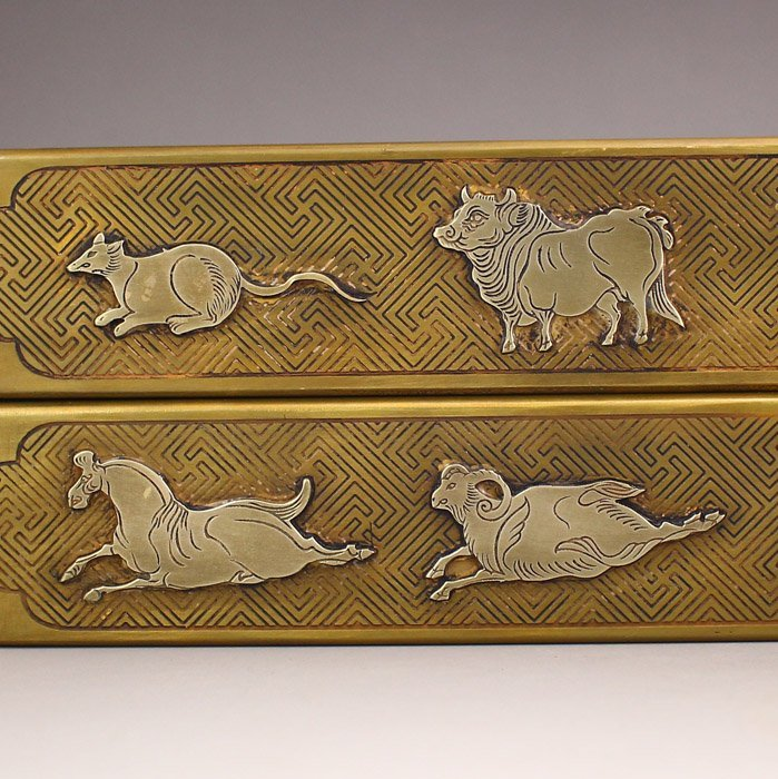A Pair Chinese Brass Paperweights Carved Chinese Zodiac - 2