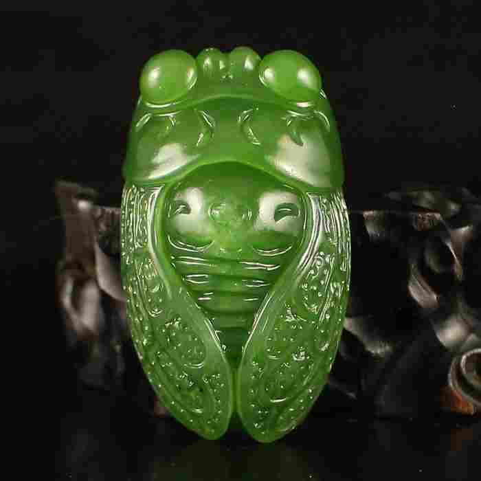 Chinese Natural Green Hetian Jade Pendant w Cicada