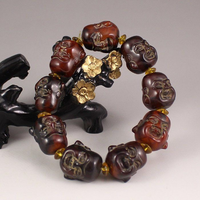 Chinese Ox Horn Bracelet Carved Laughing Buddha Heads