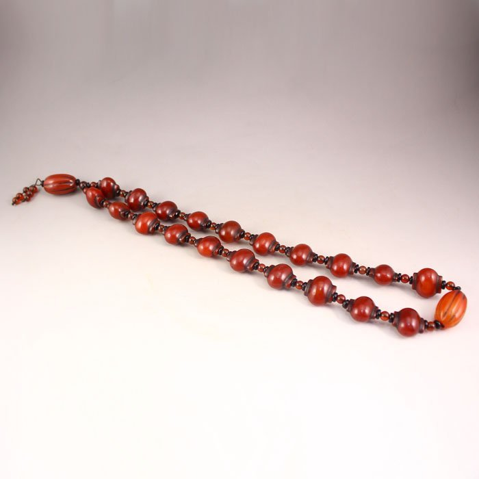 Vintage Chinese Natural Red Agate Beads Necklace