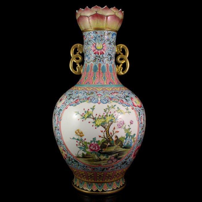 China Gilt Gold Famille Rose Porcelain Double Ears Vase