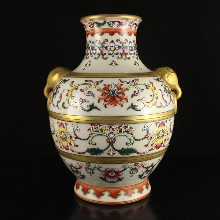 Chinese Gilt Gold Famille Rose Double Ear Porcelain Pot