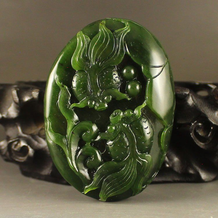 Chinese Natural Green Hetian Jade Pendant - Goldfish