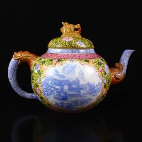 Chinese Blue And White + Famille Rose Porcelain Teapot