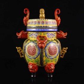 China Gold-plated Famille Rose Porcelain Incense Burner