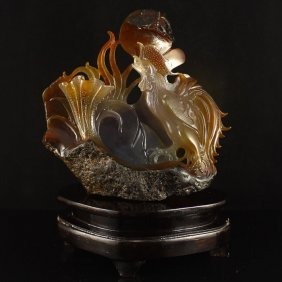 Superb Chinese Natural Agate Statue - Rooster