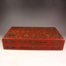 Chinese Lacquerware Hard Wood Confucian Classics Box