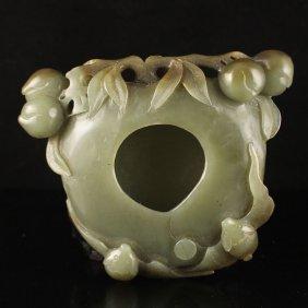 Chinese Natural Hetian Jade Peaches Shaped Brush Washer