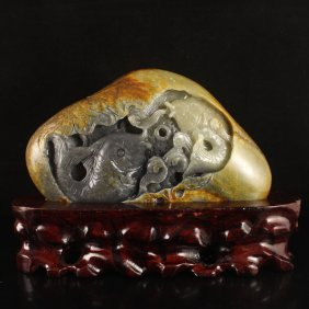 Hand Carved Chinese Hetian Jade Statue - Fortune Fish