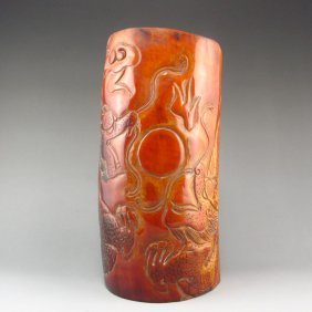 Hand Carved Chinese Ox Horn Sacrifice Big Cup