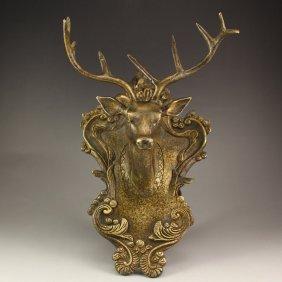 Chinese Bronze Deer Head Statue