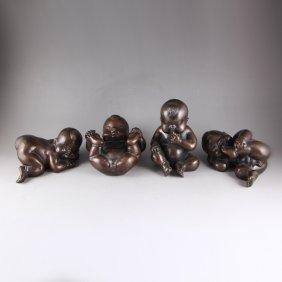Chinese Bronze Statue - Four Naughty Child