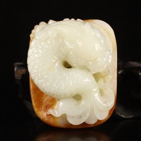 Chinese Hetian Jade Dragon Head Fish Pendant