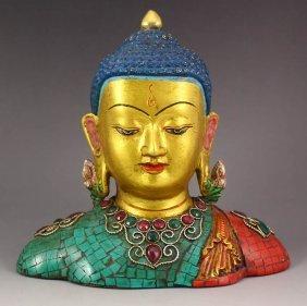 Nepal Gold-plating Bronze Inlay Turquoise Buddha Statue