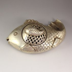 Chinese White Copper Fish Shape Incense Burner