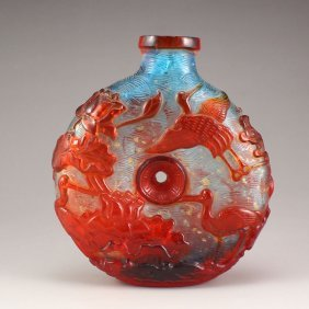 Chinese Beijing / Peking Glass Low Relief Snuff Bottle